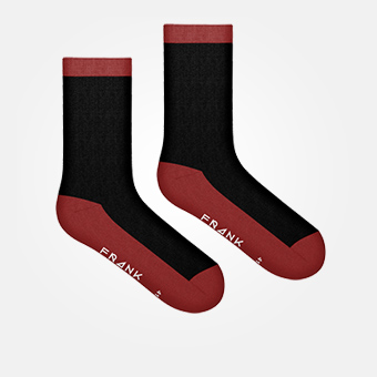 Dark Red - Bamboo Contrast Sock