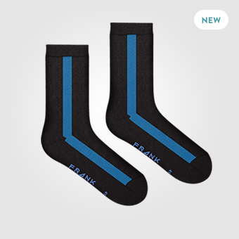 Black/Blue - Bamboo Vertical Socks