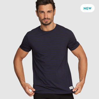 Bamboo Tee - Stripe Dark Navy