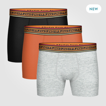 3P Solid Boxer - Black/Grey/Orange