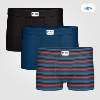 3P Bamboo Trunk - Navy/Striped Grey/Black
